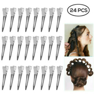 24 Pro Hair Salon Ladies Silver No Bend Metal Pin Curl Clips Single Prong
