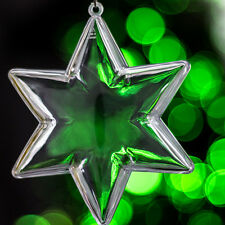 x 10 Plástico Transparente En Forma De Estrella Decoración De Navidad 100mm