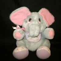 """Tonka Zoo Babies """"Baby Gray Elephant & Bib"""" Plush Stuffed Animal Vintage 1989"""