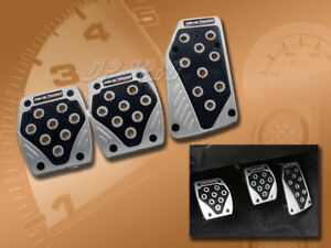 BLACK/ SILVER MANUAL BRAKE GAS CLUTCH RACING PEDAL PADS FOR CARS 2007-2011