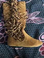 Suede Fringe Boots Size 8 Nwot