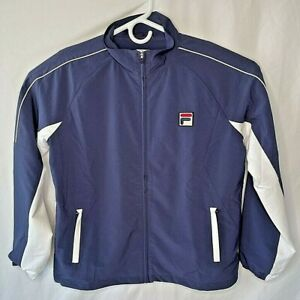 FILA Mens  M Track Jacket Blue Full Zipper Mock Neck Pockets Mesh Lined New