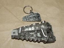 VTG 1978 Bergamot Brass Works Locomotive Train Belt Buckle Matching '87 Keychain