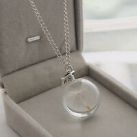 special Dried dandelion round pendant necklace Glass beads necklace FHLing desgn