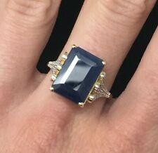 7 ctw Natural Blue Sapphire & Diamond Ring 10k Gold
