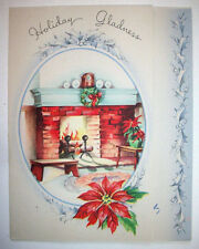 Fireplace mantel Holiday Gladness Christmas Vintage Greeting Card *H