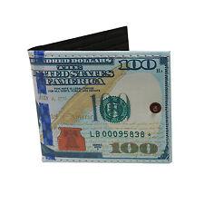 Novedad reserva federal $100 Nota Bi-Fold Dinero Cartera soporte tarjeta de ventana de identificación.