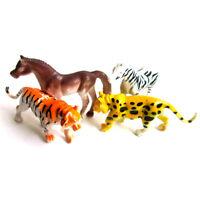 4x Plastic Zoo Animal Figure Tiger Leopard Horse Zebra Kids Animal Gift Toys wn