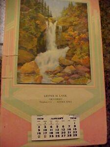 1938 LESTER H LYNK, GROCERIES, TELEPHONE 436, ELDORA, IOWA -ADVERTISING CALENDAR