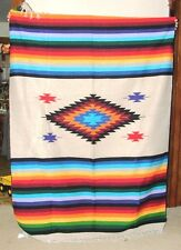 Big 5'x7' Colorful Woven Mexican Blanket Throw w/ Fringed Ends Mazatlan Style #1