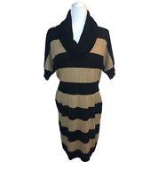 NWT Ann Taylor LOFT Striped Sweater Dress Short Sleeve Camel Black L NEW