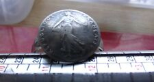 1918 MENS FRENCH COIN RING. .835 & .925 Hammered Silver Band Size 12.5
