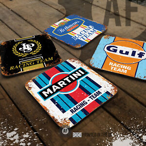 Retro Motor Racing Drinks Coaster Collection. Mancave Shed Garage Office Sport
