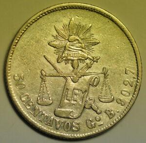 mw17364 Mexico; Silver 50 Centavos 1883 Go B  Guanajuato  KM#407.4