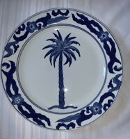 "Bombay Dinner Plate Serving Dish 12"" Royal Blue White Palm Tree Center"