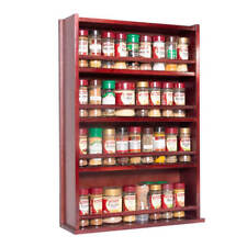 Spice Rack - Wooden - Closed Top - 4 Tiers - Timber Bar - 72 Herb and Spice Jars