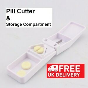 NEW 2018 Portable Tablet Pill Splitter Medicine Cutter Quarter Compartment Box