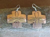 Navajo Indian Hand Stamped Cross Copper Earrings by Douglas Etsitty!