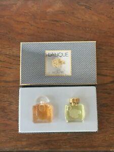 Lalique Pour Homme Miniatures Collectible Lion & Honeysuckle Bottles 4.5ml