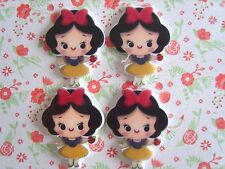4 x Cute Little Snow White Flatback Planar Resin Embellishment Hair bow Craft UK