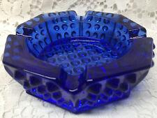 Blue Vaseline glass hobnail bowl uranium ashtray cigar smoking cigarette Cobalt