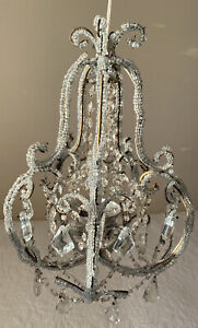 Antique Italian French Crystal Macaroni Beaded Chandelier