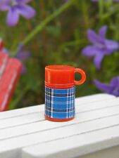 Miniature Dollhouse FAIRY GARDEN Accessories ~ TINY Red & Blue Plaid Thermos NEW
