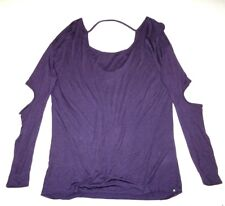 New Hurley Womens Solid Braided Long Sleeve Cut out Top Shirt Tshirt Tee Small