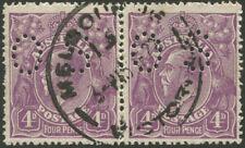 "Officials: 1921-22 (SG.073) 4d Violet pair, Single Wmk, punctured ""OS"""