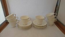 Set of EIGHT Wedgwood Silver Ermine Contour R4452 Teacup Cup & Saucer Sets
