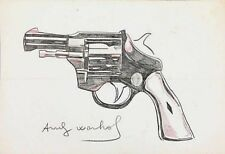ANDY WARHOL ORIGINAL HAND DRAWN AND SIGNED * GUN * COLORED PENCIL ON HEAVY PAPER