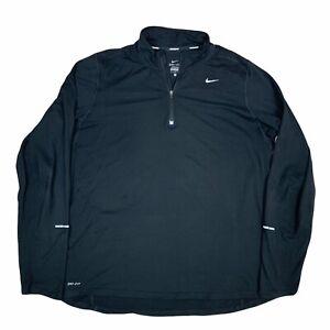 Nike Jacket Mens Large Black Gray 1/4 Zip Pullover Drifit Running Gym Casual