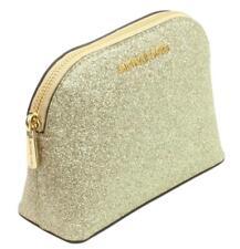 Michael Kors Make Up Bag Case Travel Pouch Pale Gold Glitter