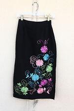 HUGO BUSCATI Size 2 Embroidered Maxi High Side Slits Skirt