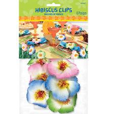 6 Clips De Mesa De Hibisco Hawaiano Luau Tropical Flor Decoraciones De Mesa 670534