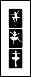 Glitzer Tattoo Schablonen 3 teilig Ballerina, Airbrush