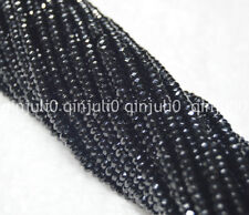 2x4mm Faceted Black Agate Gemstone Rondelle Loose Beads 15inch JL223