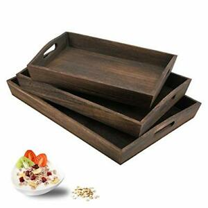 Rustic Wood Serving Tray with Handles-Set of 3(3PC Set)-Large Serving Trays