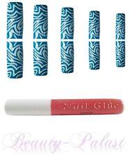 Nagel Tips Blau mit Kleber Nailart Airbrush Tips Designtips Frenchnails 11