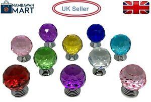 30mm CRYSTAL ROUND BALL Door Knob Handle Drawer Kitchen Cupboard Cabinet UK BN