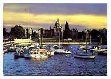 Victoria BC Postcard Canada Inner Harbour at Dusk Parliament Buildings Boat Flag