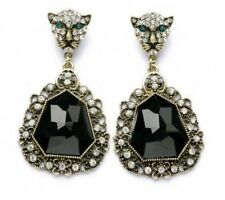 E657 Betsey Johnson Leopard Head Crystal Rhinestone Wedding Accessories Earrings