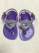 Kids Toddlers Party Sandals Girl Dress Purple Jelly Shoes Glitter Heart Size 4 ^