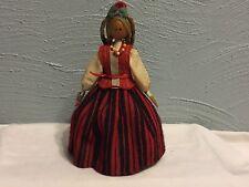 Vintage Wooden Peg Doll Folk Art Blond Braids Floral Dress European