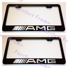 "2X Mercedes ""AMG"" Stainless Steel Black License Plate Frame Rust Free W/ Boltcap"