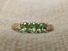 Natural Green Tsavorite garnet & Diamond Trilogy ring solid 9ct gold size N 7