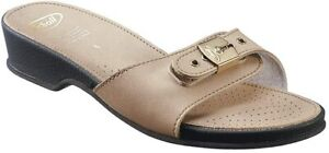 Scholl Leather Look Low Sandals - Stone