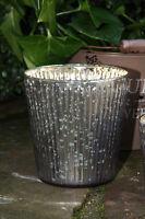 * Teelichthalter Glas Lila Lavendel groß Rillen Bauernsilber Landhaus Edel