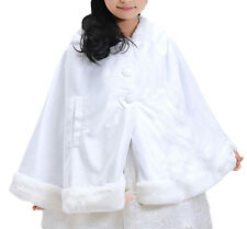 White Faux fur Minnie-Mouse style Fancy Cape/Child Cover up Coat/Girl's Cloak