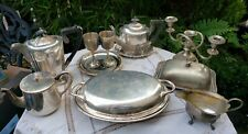 ANTIQUE VINTAGE SILVER PLATED JOB LOT TEAPOT TUREEN BUTTER DISH